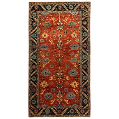 One of a Kind Oriental Serapi Hand Knotted Runner Rug, Crimson
