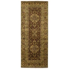 One-of-a-Kind Oriental Silky Oushak Wool Hand Knotted Runner, Hickory
