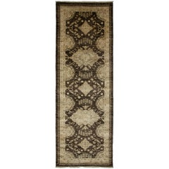 One-of-a-Kind Oriental Silky Oushak Wool Hand Knotted Runner, Shadow