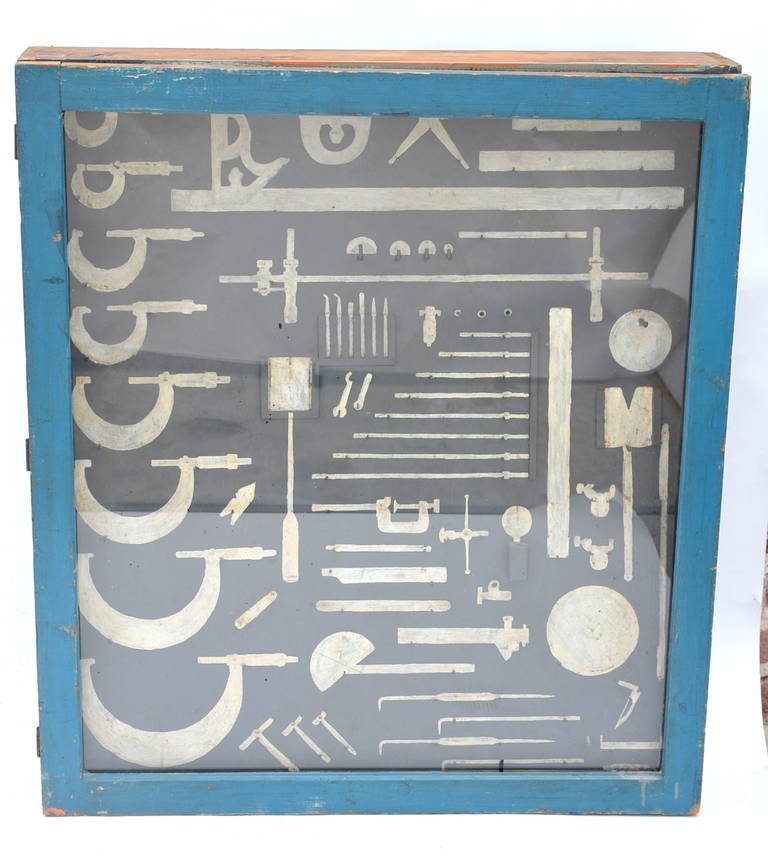 Industrial One of a Kind Painted Mechanic's Tool Cabinet For Sale