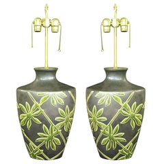 One of a kind pair of Botanical fire glazed table lamps.