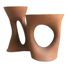 One of a Kind Pair of Terracotta Color Kreten Side Tables from Souda, in Stock