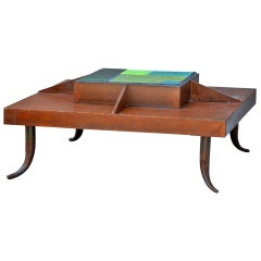 One-of-a-Kind Patinated Steel and Tile Studio Art Coffee Table