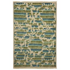 One-of-a-Kind Patterned and Floral Wool Hand Knotted Area Rug, Beige