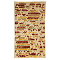 One-of-a-Kind Patterned and Floral Wool Hand Knotted Area Rug, Carmine