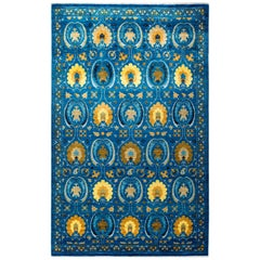 One of a Kind Patterned and Floral Wool Hand Knotted Area Rug, Cobalt
