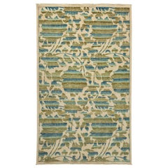 One-of-a-Kind Patterned and Floral Wool Hand Knotted Area Rug, Cream