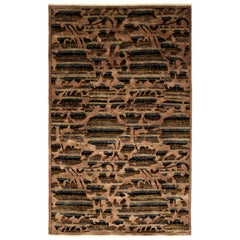 One of a Kind Patterned and Floral Wool Hand Knotted Area Rug, Mocha