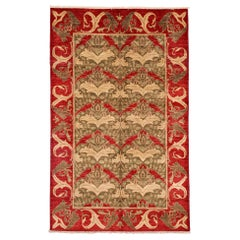 One of a Kind Patterned and Floral Wool Hand Knotted Area Rug, Multi