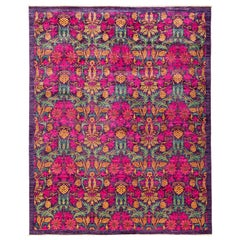 One-of-a-Kind Patterned and Floral Wool Hand Knotted Area Rug, Multi