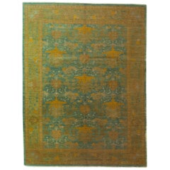 One-of-a-Kind Patterned and Floral Wool Hand Knotted Area Rug, Pear