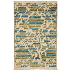 One-of-a-Kind Patterned and Floral Wool Hand Knotted Area Rug, Sage