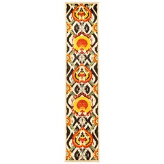 One-of-a-Kind Patterned and Floral Wool Hand Knotted Runner, Beige