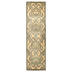 One-of-a-Kind Patterned and Floral Wool Hand Knotted Runner, Canary