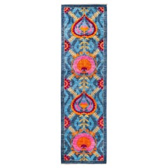 One of a Kind Patterned and Floral Wool Hand Knotted Runner, Capri