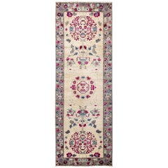 One-of-a-Kind Patterned and Floral Wool Hand Knotted Runner, Ivory