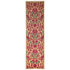 One-of-a-Kind Patterned and Floral Wool Hand Knotted Runner, Magenta