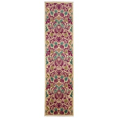 One of a Kind Patterned and Floral Wool Hand Knotted Runner, Magenta