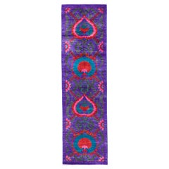 One-of-a-Kind Patterned and Floral Wool Hand Knotted Runner, Multi