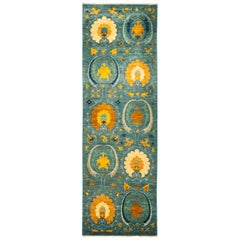 One-of-a-Kind Patterned and Floral Wool Hand Knotted Runner, Ocean