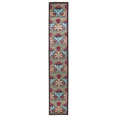 One-of-a-Kind Patterned and Floral Wool Hand Knotted Runner, Onyx