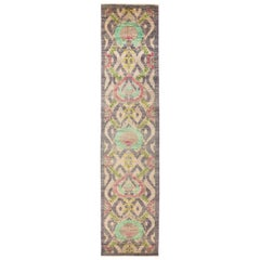 One-of-a-Kind Patterned and Floral Wool Hand Knotted Runner, Parchment