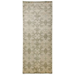 One-of-a-Kind Patterned and Floral Wool Hand Knotted Runner Rug, Bone