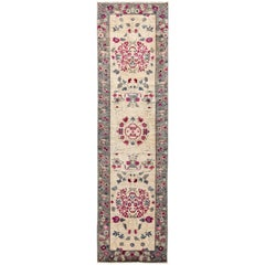 One of a Kind Patterned and Floral Wool Hand Knotted Runner Rug, Ivory