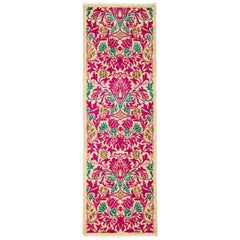 One-of-a-Kind Patterned and Floral Wool Hand Knotted Runner Rug, Magenta