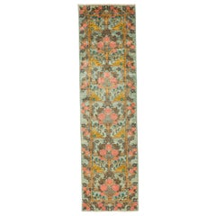 One-of-a-Kind Patterned and Floral Wool Hand Knotted Runner Rug, Mint