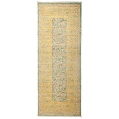 One-of-a-Kind Patterned and Floral Wool Hand Knotted Runner Rug, Seafoam