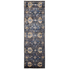 One-of-a-Kind Patterned and Floral Wool Hand Knotted Runner Rug, Slate