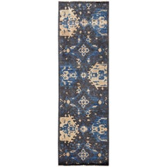 One of a Kind Patterned and Floral Wool Hand Knotted Runner Rug, Slate