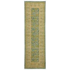 One of a Kind Patterned and Floral Wool Hand Knotted Runner, Seafoam