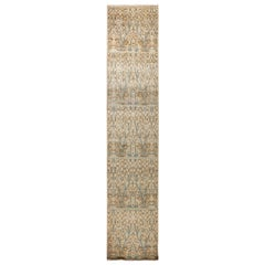 One-of-a-Kind Patterned and Floral Wool Hand Knotted Runner, Taupe