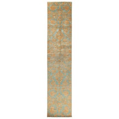 One-of-a-Kind Patterned and Floral Wool Hand Knotted Runner, Teal,