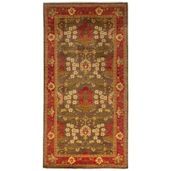 One-of-a-Kind Patterned and Floral Wool Handmade Area Rug, Chestnut