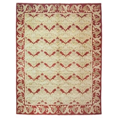 One of a Kind Patterned and Floral Wool Handmade Area Rug, Hazelnut