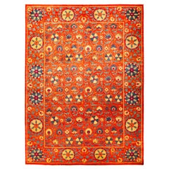 One of a Kind Patterned and Floral Wool Handmade Area Rug, Tiger