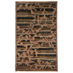 One of a Kind Patterned & Floral Wool Hand Knotted Area Rug, Coffee