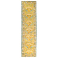 One of a Kind Patterned & Floral Wool Hand Knotted Runner, Daffodill