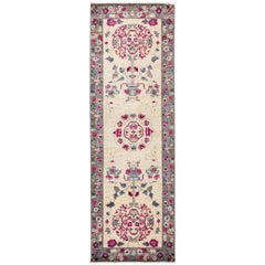 One-of-a-Kind Patterned & Floral Wool Hand Knotted Runner, Ivory