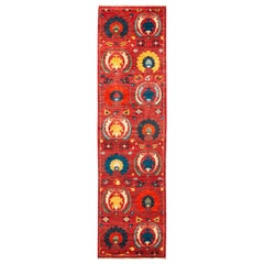 One-of-a-Kind Patterned & Floral Wool Hand Knotted Runner, Scarlet