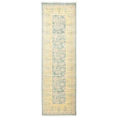 One of a Kind Patterned & Floral Wool Hand Knotted Runner, Seafoam