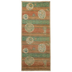 One-of-a-Kind Patterned & Floral Wool Hand Knotted Runner, Sepia