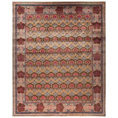 One-of-a-Kind Patterned & Floral Wool Handmade Area Rug, Mocha