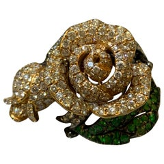 One of a Kind Pave Diamond Rose Ring in 18 Karat Gold
