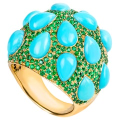 19,2 Karat Yellow Gold Pear Cut Turquoise and Emerald Cocktail Ring