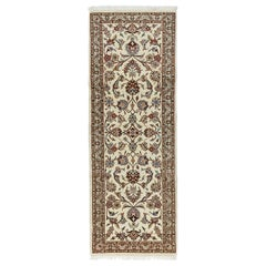 One-of-a-Kind Persian Kashmar Wool Hand Knotted Runner, Parchment