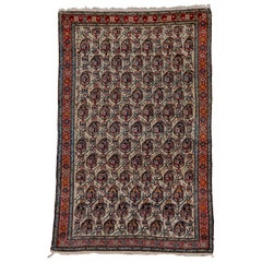 One of a Kind Persian Malayer Rug, All-Over Ivory Field, Blue and Rust Accents